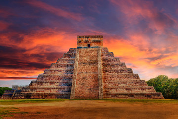 Wall Murals Place of worship Sunset Over Kukulcan Pyramid at Chichen Itza, Mexico