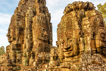 Wall Mural - Wonderful view of towers with stone faces of Bayon temple