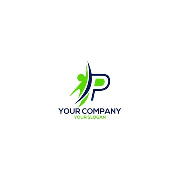 P Training Career Logo Design Vector