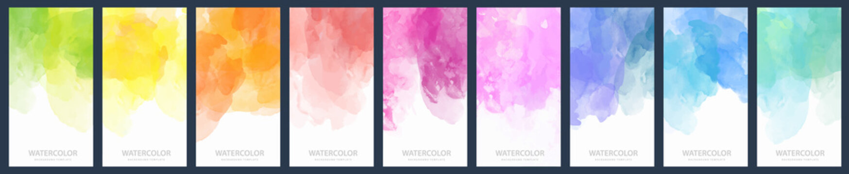 Set of light colorful vector watercolor vertical backgrounds for poster, banner or flyer