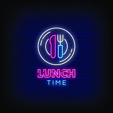 Lunch Time Neon Signs Style Text Vector