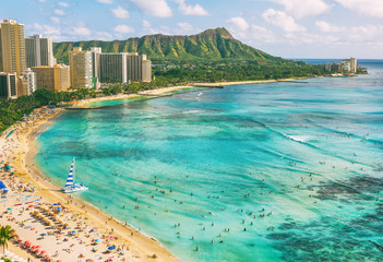 Hawaii waikiki beach in Honolulu city, aerial view of Diamond Head famous landmark travel destination. Mountain peak at sunset, Oahu island, USA vacation.