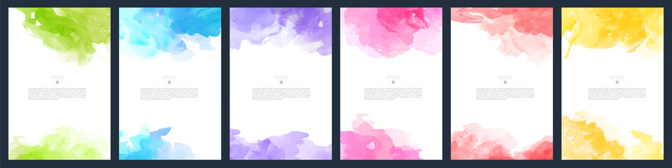 Set of light colorful vector watercolor A4 backgrounds for poster, brochure or flyer