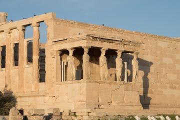Athens, Greece - Dec 20, 2019: Erechtheion Temple with Caryatids, Caryatid Porch, Acropolis, Athens, Greece