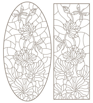 Set contour illustrations of stained glass with flowers  Lotus with dragonflies , dark outline on a white background