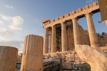 Athens, Greece - Dec 20, 2019: Parthenon at the Acropolis of Athens, Greece