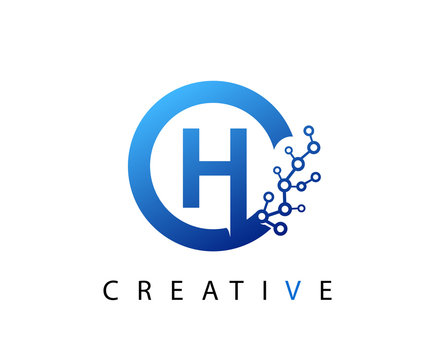 Circle H Letter Digital Network , abstract blue H technology logo design.