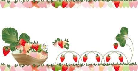 いちごの葉と花カラフルなイチゴのラインの可愛いイラストバナー素材