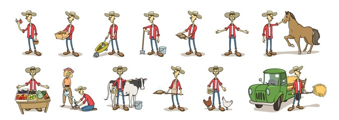 Young farmer in the hat, funny cartoon character set in various poses. Flat vector illustration, isolated on white background.
