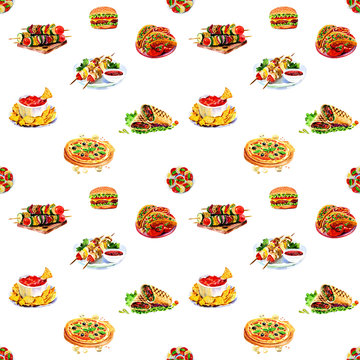 Watercolor seamless pattern fast food. For menus and posters