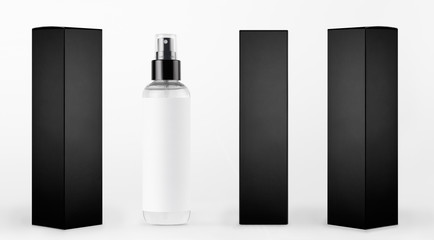 Mock up for design of packing cosmetics product - tall transparent spray bottle, white label and black paper boxes of different sides on white background. Wall mural