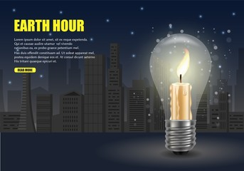 Earth hour worldwide movement vector web banner template