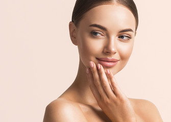 Fototapeta Woman beauty face healthy skin natural make up  obraz