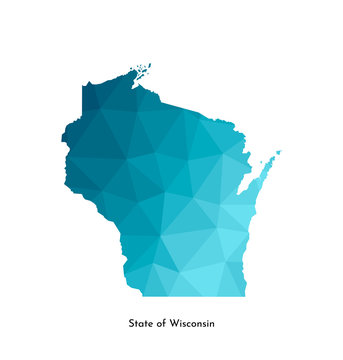 Vector isolated illustration icon with simplified blue map's silhouette of State of Wisconsin (USA). Polygonal geometric style. White background