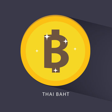 Thai baht currency symbol golden coin