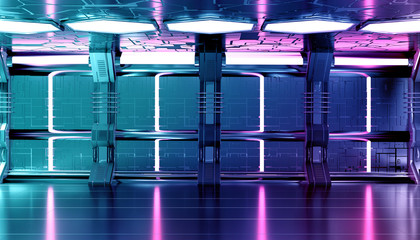 Fototapete - Dark blue pink spaceship futuristic interior with tech wall panel 3d rendering