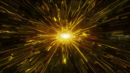 Golden liquid flow. Futuristic digital gold color abstract background