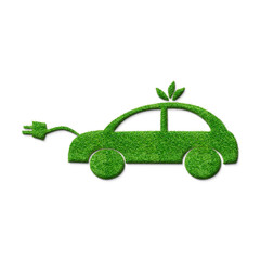 Eco friendly electric car silhouette sign with realistic green grass texture, isolated 3D illustration on the white background.