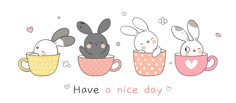 Draw collection rabbit sleeping in sweet cup for spring.