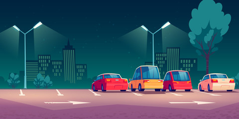 Photo sur Aluminium Cartoon voitures Cars on city parking with street lights at night. Vector cartoon illustration with modern automobiles parked in town and cityscape on background. Urban landscape with road, vehicles and buildings