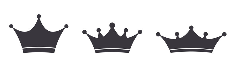Crown icons set. Royal, deluxe luxury symbols.