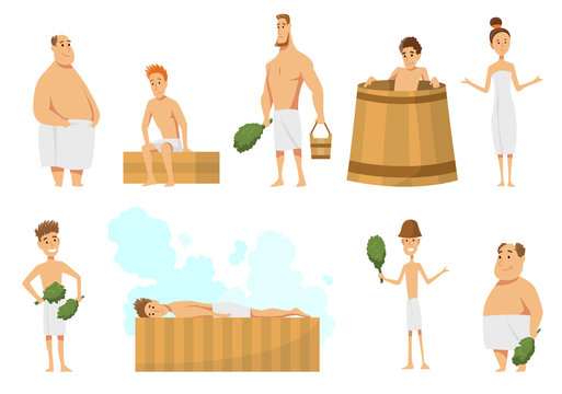 Collection of people bathing in sauna or banya full of steam. Activity for wellness and recreation. Sauna or SPA procedure. Flat cartoon vector illustration. People Enjoying Sauna Procedures