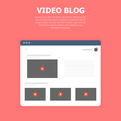 Video blog. Library in window browser on blue background.