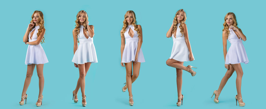 set of young curly blonde woman in white dress posing on blue background