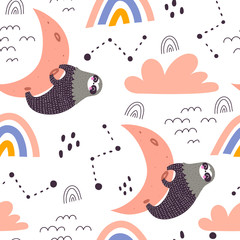 Seamless pattern with cartoon sloths, moon, rainbow, clouds, decor elements. kid colorful vector, flat style. hand drawing. baby design for textile, print, fabric, wrapping paper