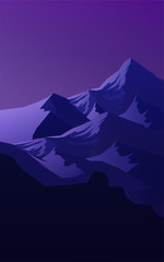 Deurstickers Violet Mountains horizon hills Natural silhouettes in the evening Sunrise and sunset Landscape wallpaper Illustration vector style Colorful view background