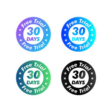 30 Days Free Trial stamp vector illustration. Free trial badges. Vector certificate icon