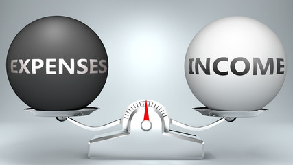Expenses and income in balance - pictured as a scale and words Expenses, income - to symbolize desired harmony between Expenses and income in life, 3d illustration