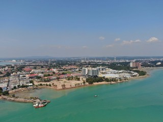 Foto auf Gartenposter Blau Jeans Port Dickson, Negeri Sembilan / Malaysia - January 25, 2020: The Beaches and Coastlines of the Seaside Town Port Dickson