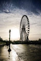 Fotobehang Parijs Ferris wheel in place de la Concorde, Photo image a Beautiful panoramic view of Paris Metropolitan City
