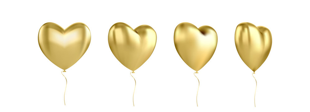 Gold glossy 3D three-dimensional heart balloon isolated on a white background