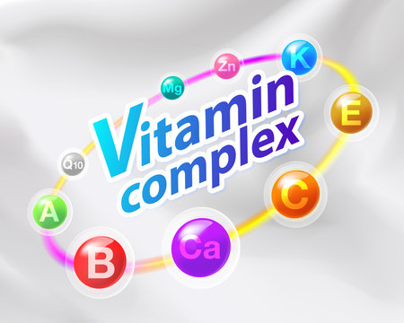 Colorful vitamin complex capsule with rainbow ring contains Vitamin C, Ca, B, A, E, Q10, Mg, Zn Medicines for health promotion, treatment and used as medical illustrations.
