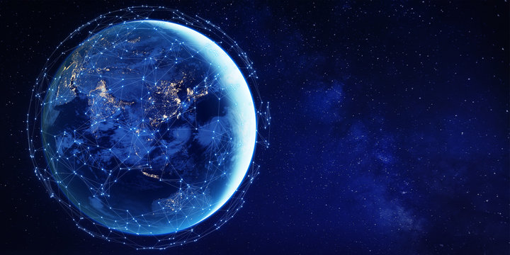 Connected network around planet Earth from space for global communication technology concept in Asia as Internet of Things, mobile web, fintech blockchain, big data, cloud, world element from NASA