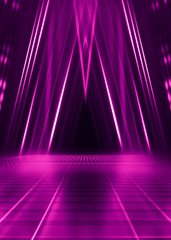 Abstract dark background with purple neon glow. Neon luminous figure in the center of the stage....