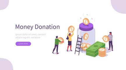 People Characters Donate Money for Charity. Volunteers Collecting and Putting Coins And Banknotes in Donation Jar. Financial Support and Fundraising Concept. Flat Isometric Vector Illustration.