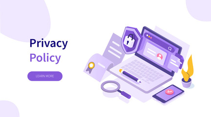 Laptop with Firewall Protection Shield on Screen. Personal Private Information and Data Safety. Cyber Security and Privacy Policy Concept. Flat Isometric Vector Illustration.