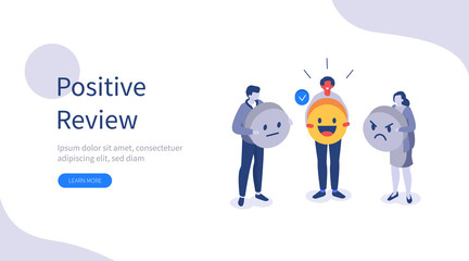 People Character Giving Positive, Negative and Neutral Feedback. Client Choosing Satisfaction Rating and Leaving Review. Customer Service and User Experience Concept. Flat Vector Illustration.