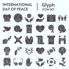 International day of peace glyph icon set, peace set symbols collection, vector sketches, logo illustrations, computer web signs solid pictograms package isolated on white background, eps 10.