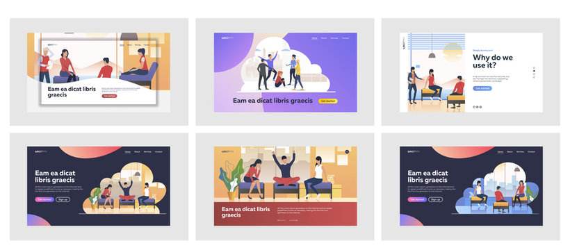 Set of young people acting together. Flat vector illustrations of men and women talking and sitting. Communication and friendship concept for banner, website design or landing web page