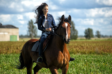 girl in jeans rides a horse in a field in summer Papier Peint