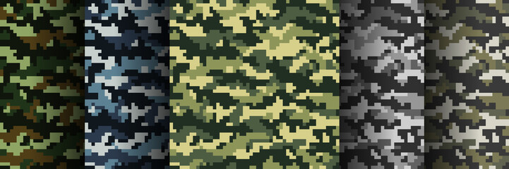 Fototapeta Set of 5 seamless digital camouflage patterns. Abstract modern military textile print background. Vector illustration.