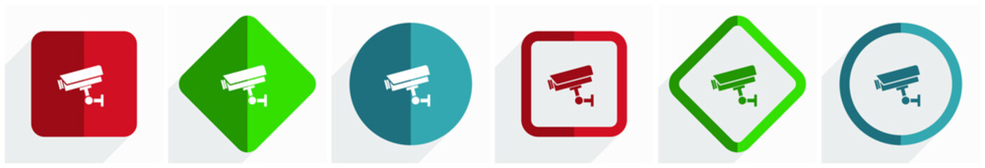 Cctv camera icon set, flat design vector illustration in 6 options for webdesign and mobile applications in eps 10