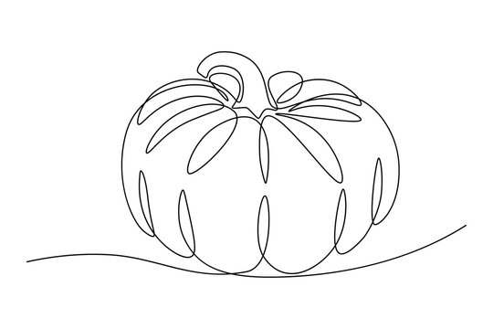 Pumpkin in continuous line art drawing style. Minimalist black line sketch isolated on white background. Vector illustration