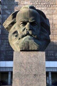 CHEMNITZ, GERMANY - MAY 8, 2018: Karl Marx monument in Chemnitz, Germany. The monument is locally known as Nischel. It was designed by Lev Kerbel.