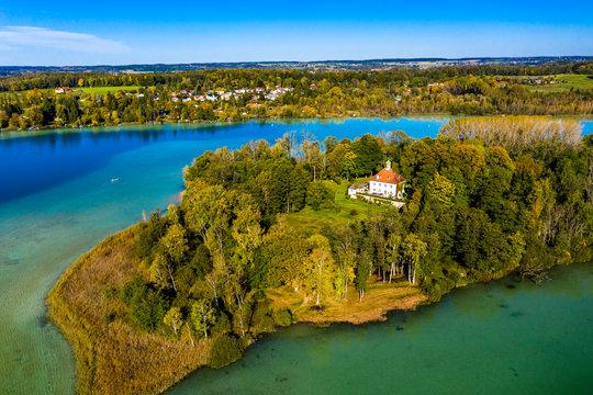 Aerial view, Wörth lake with the Wörth island or Mausinsel, Stranberg district, Bachern, Bavaria, Germany