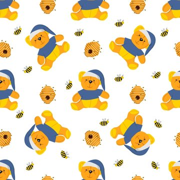Winnie-the-pooh seamless pattern. Toys isolated on a white background. Plush witch. Fairy-tale heroes. Book characters. Teddy bear..